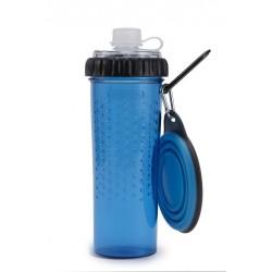 Foder og vandflaske med skål - blå